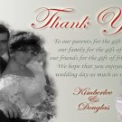 Sweet and Elegant Red and White Wedding Photo Thank You Card