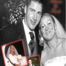 Wedding Photo Thank You Card Custom Collage with Inset Photos Red BW