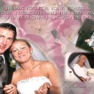 Floral Pink Background Wedding Photo Thank You Card