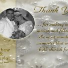 Pearls and Rhinestones Wedding Photo Thank You Card Elegant