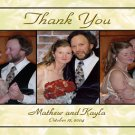 Golden Roses Background Three Photos Wedding Photo Thank You Card