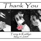 Wedding Photo Thank You Card Black/White Background with Three Photos