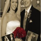 Wedding Photo Thank You Card Elegant Sepia Vintage with Inset Photos