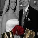 Elegant BW Vintage with Inset Photos Wedding Photo Thank You Card