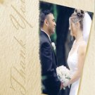 Textured Cream Background/Any Other Color Wedding Photo Thank You Card