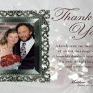 Elegant Silver Frame One Main Photo Wedding Photo Thank You Card
