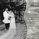 Rhinestones and Pearls One Photo Wedding Photo Thank You Card