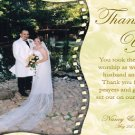 Golden Flowers Background One Photo Wedding Photo Thank You Card
