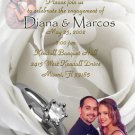 White Roses & Ring Photo Engagement and Wedding Announcements 5 x 8