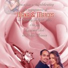 Pink Roses & Ring Photo Engagement and Wedding Announcements 5 x 8