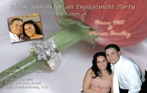 Red Rose with Ring Photo Engagement and Wedding Announcements 5 x 8