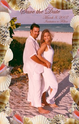 Beach Seashells Photo Engagement and Wedding Announcements 5 x 8
