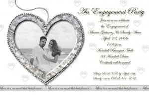Silver Heart any Color Photo Engagement and Wedding Announcements 5x8