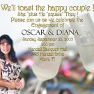 Champagne Glasses Photo Engagement and Wedding Announcements 5 x 8