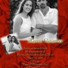 Red Roses with 2 Pics Photo Engagement & Wedding Announcements 5 x 8