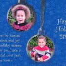 Blue Snowflakes with two ornaments Custom Photo Christmas Cards 5 x 8