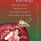 Red & Green with 2 Ball Ornaments Custom Photo Christmas Cards 5 x 8