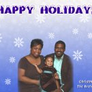 Falling Snowflakes in Blue with Pic Custom Photo Christmas Cards 5x8