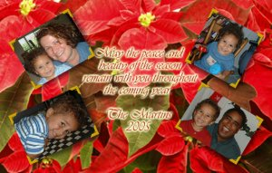 Poinsettia with Four Photos Family Custom Photo Christmas Cards 5 x 8