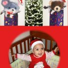 Red and Green Multi Photo Collage Custom Photo Christmas Cards 5 x 8