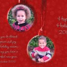 Burgundy Snowflakes with 2 Ornament Custom Photo Christmas Cards 5x8