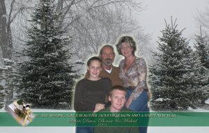 Snowy Christmas Trees Family Photo Custom Photo Christmas Cards 5 x 8