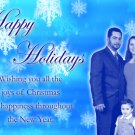 Elegant and Classy Blue Snowflakes Custom Photo Christmas Cards 5x8