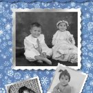 Blue and White Snowflakes Collage Custom Photo Christmas Cards 5 x 8