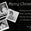 Modern Black & White Photo Collage Custom Photo Christmas Cards 5 x 8