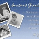 Seasons Greeting Blue and White Custom Photo Christmas Cards 5 x 8