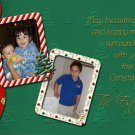Two to Three Frames Red and Green Custom Photo Christmas Cards 5 x 8