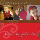 Modern Brown and Red Three Frames Custom Photo Christmas Cards 5 x 8