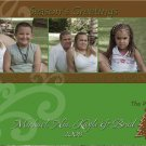 Modern Brown and Green Three Frames Custom Photo Christmas Cards 5x8