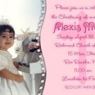 Classic Pink With Photo Photo Baptism and Christening Invitations 5x8