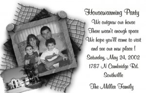 Trendy BW Photo Moving Announcement & Housewarming Party Invitations