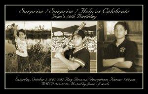 Elegant Black with Three Photos Photo Adult Birthday Invitations