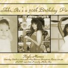 Golden Roses Three Photos 50th 60th Photo Adult Birthday Invitations