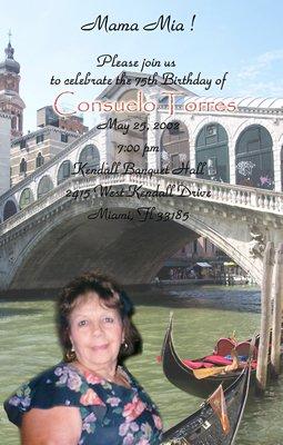 Italian Party Gondola Photo Adult Birthday Invitations