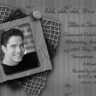 Chic Modern Grey with Net Photo Adult Birthday Invitations
