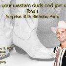 BW Western Themed Cowboy Boots Photo Adult Birthday Invitations