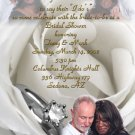 White Rose & Silver Ring Personalized Photo Bridal Shower Invitations