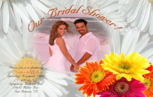 Gerber Daisy Personalized Photo Bridal Shower Invitations