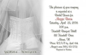 Wedding Dress and Veil BW Personalized Photo Bridal Shower Invitations
