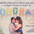 Congratulation Cake with Candles Photo Bridal Shower Invitations