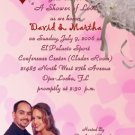 Pink Hearts and Umbrella Personalized Photo Bridal Shower Invitations