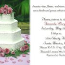 Wedding Cake and Pink Roses with Petal Photo Bridal Shower Invitations
