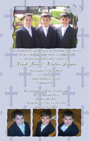 Four Photos Blue Photo Communion Invitations & Confirmation