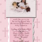 Pink Crosses Photo Communion Invitations & Confirmation Invitations