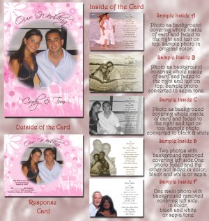 Pink Flowers Princess Royal Folded Photo Wedding Invitations Package