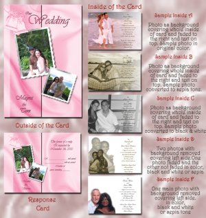 Satin Sheets Pink / Any Color Folded Photo Wedding Invitations Package